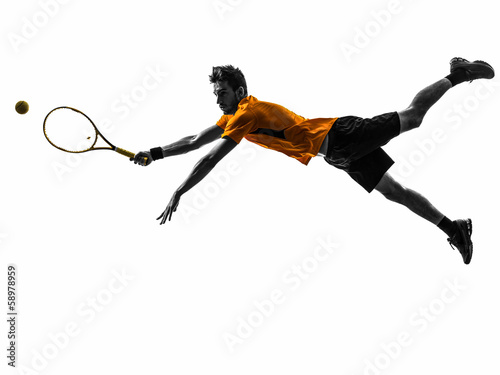 man tennis player silhouette