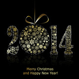 New 2014 year symbol on black backround. Christmas greeting card
