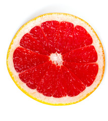 sliced red grapefruit