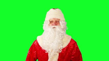 Close-up of Santa Claus. Green Screen.