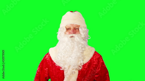 Close-up of Santa Claus. Green Screen.