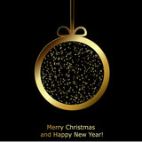 Modern Xmas greeting card with golden paper Christmas ball