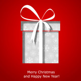 Modern Xmas greeting card with Christmas gift box