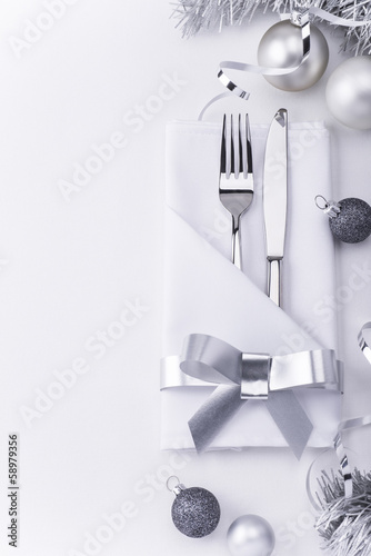 Christmas restaurant table set