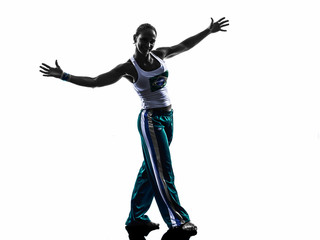 woman capoeira dancer dancing silhouette
