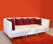 Red cushion sofa