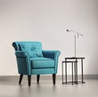 Luxury  elegant armchair with table and  lamp