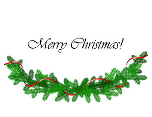 Christmas border with pine and red ribbon