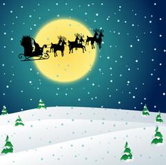 Winter night with Santa sleigh