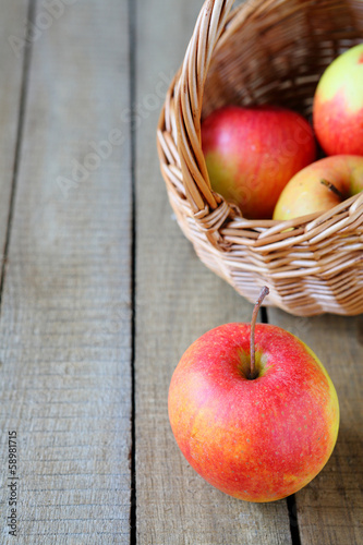 Fresh red and yellow apple and a basket
