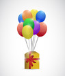 gift box and balloons. illustration design