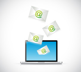 receiving mail on a laptop. illustration design