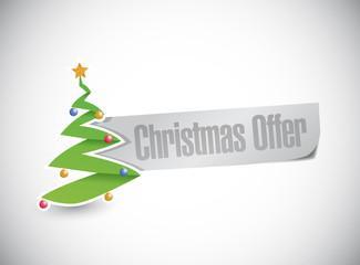christmas tree offer sign illustration design