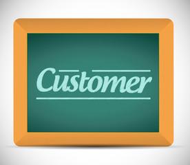 customer message written on a blackboard.