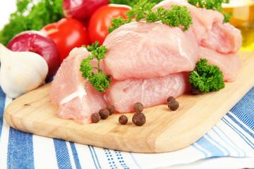 Raw turkey meat close up