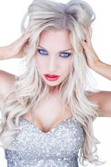 Trendy blue-eyed blond woman