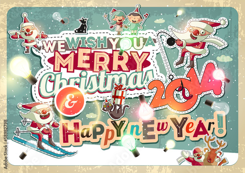 Christmas card with characters