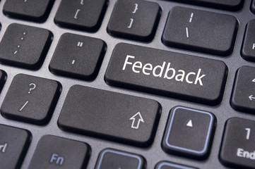 feedback concepts, with message on keyboard
