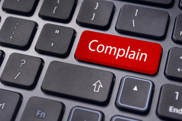 complain concepts, with message on keyboard
