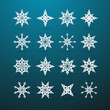 Vector Paper Christmas Star Set on Blue Background