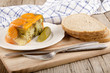 vegetable aspic and bread on a wooden board