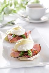 two eggs Benedict with ham