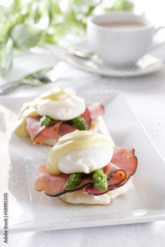 two eggs Benedict with ham