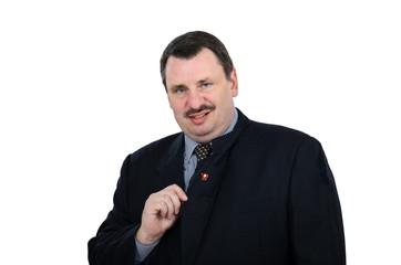 Mature mocking man wears a communist pin