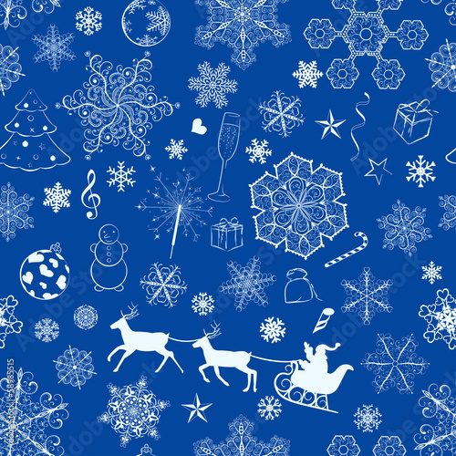 Christmas seamless blue pattern