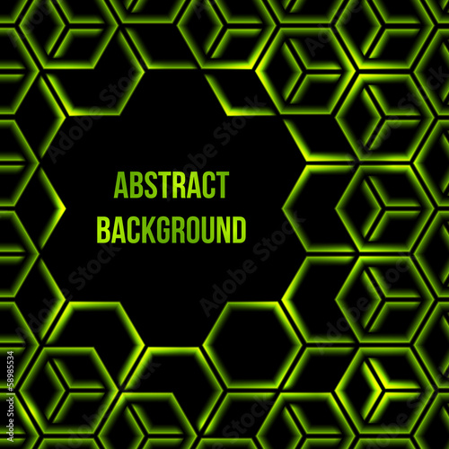 Abstract green shining 3d hexagon background