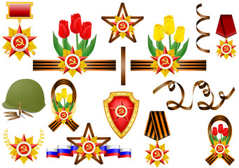 vector set of military objects, related to 23 February