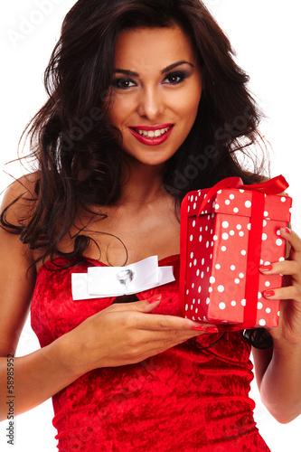 santa helper girl on white background with long hair and red gif