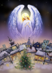 Beautiful angel over a city at snowy Christmas night.