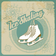 Ice skating retro card