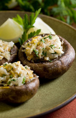 stuffed mushrooms with vegetable filling.