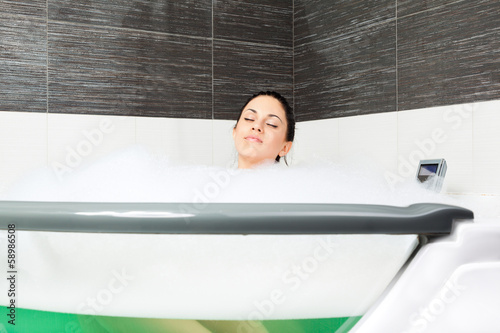 woman at bathroom