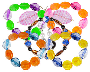 Bracelets and earrings made of handmade glass. Collage