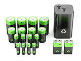 Rechargeable batteries isolated on white