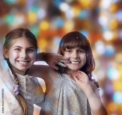 holiday portrait of happy children against bright background