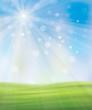 Obrazy na płótnie, fototapety, zdjęcia, fotoobrazy drukowane : Vector spring background, blue sky and green grass.