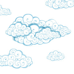 Decorative background with clouds. Sketch