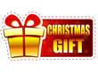 christmas gift and present box on red banner with snowflakes