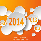 Modern New Year greeting card with paper circles on orange backg