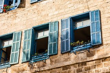 Windows in old building in Israel