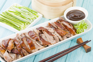 Peking Duck - Chinese duck with hoisin, cucumber & spring onion