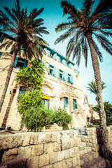House with palms in Jaffa,southern oldest part of Tel Aviv,Jaffa