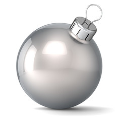 Christmas ball New Years Eve bauble decoration silver icon