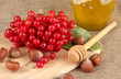 Red berries of viburnum with honey and nuts