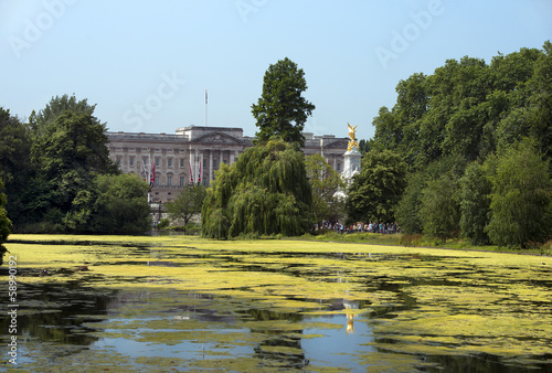 lake in saint james park and palace, london