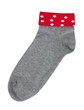 Knitted sock gray and red colors